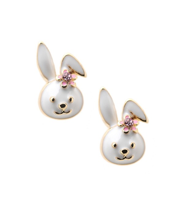Spinningdaisy Gold Plated Cute Little Smiling Bunny with Flower Earrings - CW1185KTAP9