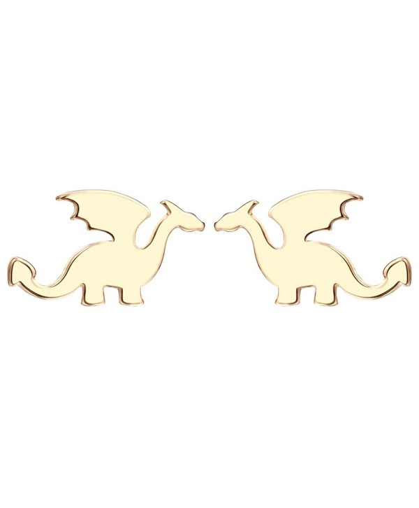 Ancient Period Dragon Earring Studs Silver Flying Animal Cool Punk Jewelry for Teens - Gold - CY1872T8XNS