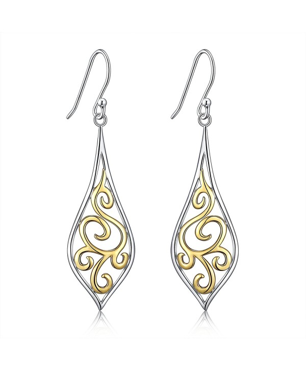 Sterling Silver Filigree Leaf Design Dangle Drop Earrings For Sensitive Ears By Renaissance Jewelry - CO1803NTERS