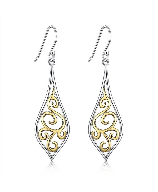 Sterling Silver Filigree Leaf Design Dangle Drop Earrings For Sensitive Ears By Renaissance Jewelry Co1803nters