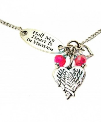 "ChubbyChicoCharms Half My Heart Is In Heaven Lariat Style 22"" Necklace - Crimson Red - C6127ZECFP3"