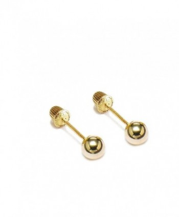 Women's 14k Yellow Gold Ball Stud Earrings with Screw Back 2mm- 3mm- 4mm- 5mm- 6mm available - C212IIVO0YB