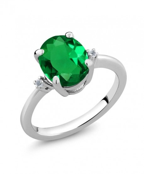 Emerald Sterling Silver 3 Stone Womens - CA11PH5JR95