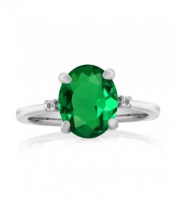 Emerald Sterling Silver 3 Stone Womens