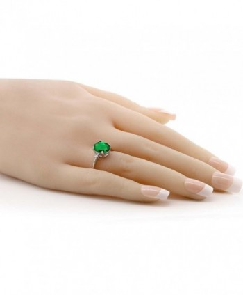 Emerald Sterling Silver 3 Stone Womens in Women's Statement Rings