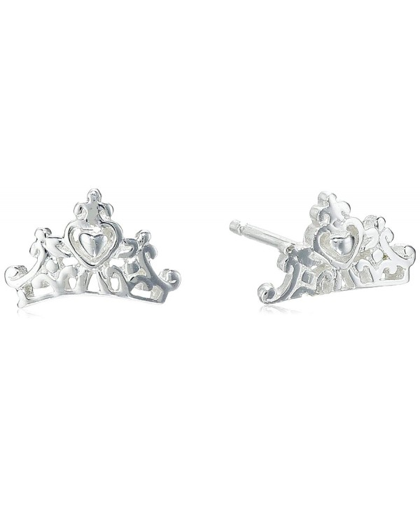 Disney Princess Crown Post Stud Earrings - Silver - CZ11VS89QRD
