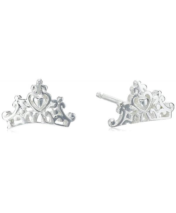 Disney Princess Crown Post Stud Earrings Silver Cz11vs89qrd