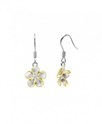 Sterling Silver 14k Yellow Gold Plated Trim CZ Plumeria Hook Earrings- 12mm - CO1175T9769
