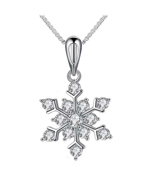 Coolsome Snowflake Necklace Sparking Zirconia - White - CT129QKC0IB