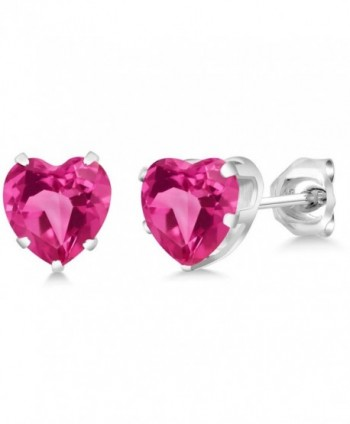 2.14 Ct Heart Shape 6mm Pink Created Sapphire 925 Sterling Silver Stud Earrings - CV11YVM4Q6T