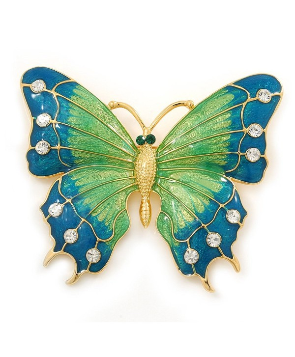 Oversized Teal Green/ Salad Green Enamel Butterfly Brooch (Gold Tone Metal) - 80mm Across - CD116Q16F1H