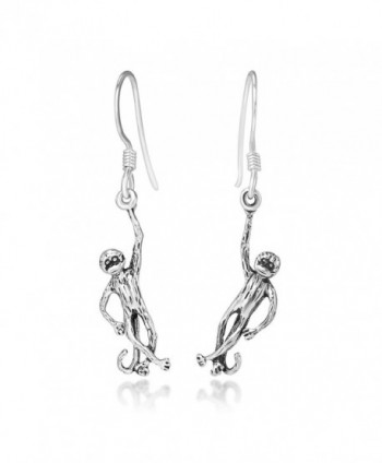 925 Oxidized Sterling Silver Hanging Monkey Ape Baboon Dangle Hook Earrings- 40 mm - C211ASVJB43