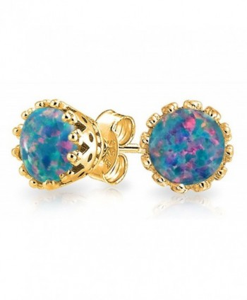Bling Jewelry Oval Crown Simulated Black Opal Stud earrings Gold Plated 6mm - CZ12LV9AKSB
