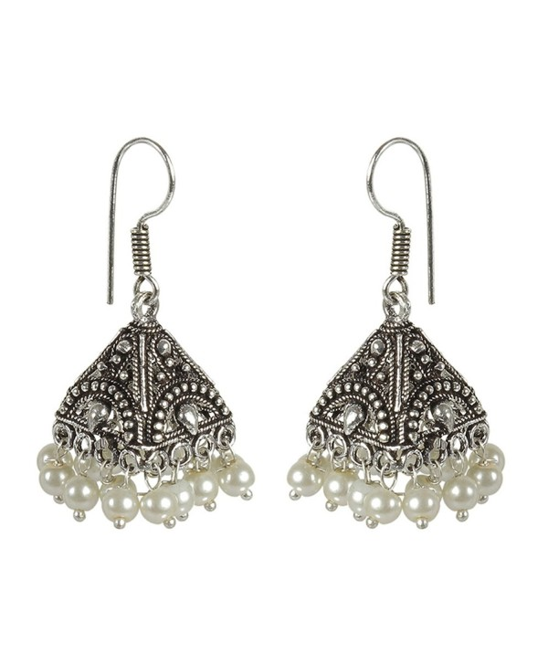 MuchMore Oxidized Silver Plated Brass Indian Pearl Jhumki Earrings Partywear Jewelry - CR1855KTT9I