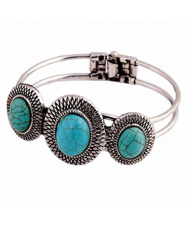 Bolayu Lady Cute Bracelet Turquoise Circle Bohemian Style Retro Plating - CW12L2WJU75