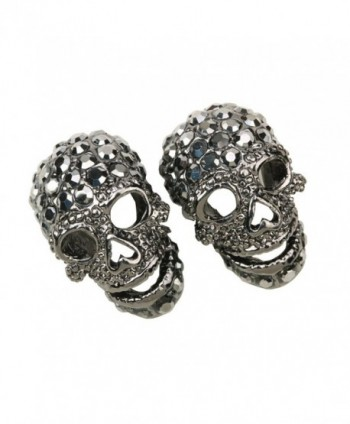 Szxc Jewelry Women's Crystal Skull Stud Earrings - gray - CW12N0KR7SV