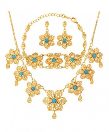 U7 Gold Plated Turquoise Flower Earrings Necklace Bracelet Set for Women - C411Z2ZNXLN