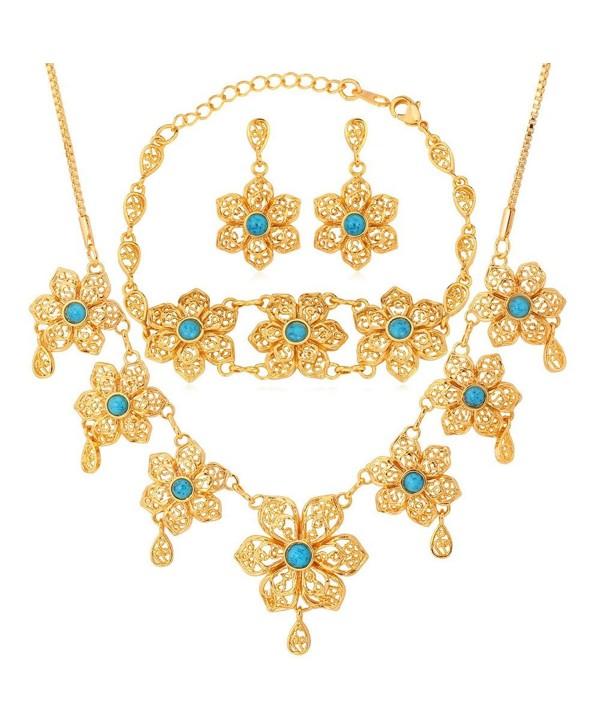 U7 Gold Plated Turquoise Flower Earrings Necklace Bracelet Set for Women - C411Z2ZNXLN