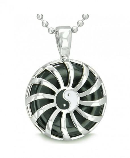 Sun Yin Yang Medallion Amulet Magic Circle Powers Simulated Black Onyx Pendant 18 Inch Necklace - CQ110Z19MWD
