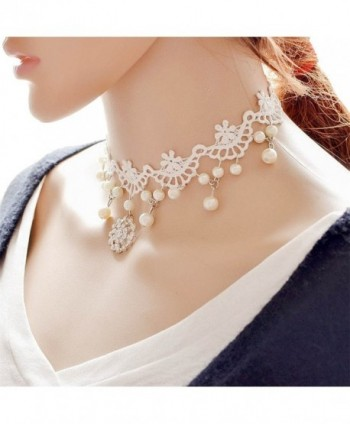 Kissweet White Lace Choker Necklace Elegant Necklace Pearl Pendant Choker for Women - C412JWLSCXV