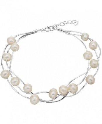 EVER FAITH 925 Sterling Silver Tin Cup 6MM Freshwater Cultured Pearl Station Bracelet - Three Layers - CX12DUX2XZZ
