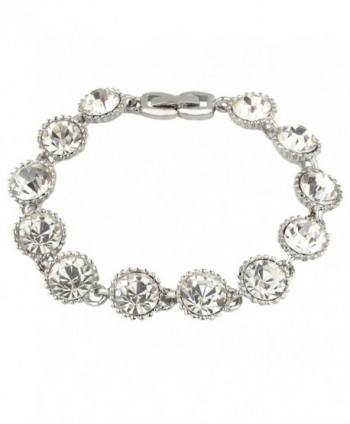 EVER FAITH Silver-Tone Crystal Bridal Art Deco Circle Round Row Link Bracelet Clear - CU11VHXWC8J