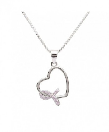 "Sterling Silver Heart ""Never Give up - You are Loved"" Breast Cancer Awareness Ribbon Necklace - CG180500809"