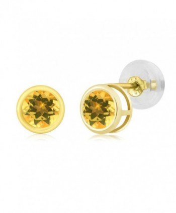 0.52 Ct Round 4mm Yellow Citrine 14K Yellow Gold Stud Earrings - CL11H3EE3FL