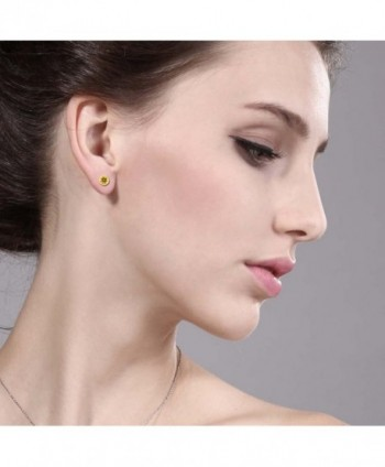 0 52 Round Yellow Citrine Earrings in Women's Stud Earrings