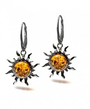 Amber Sterling Silver Flaming Sun Leverback Earrings - CF182556K20