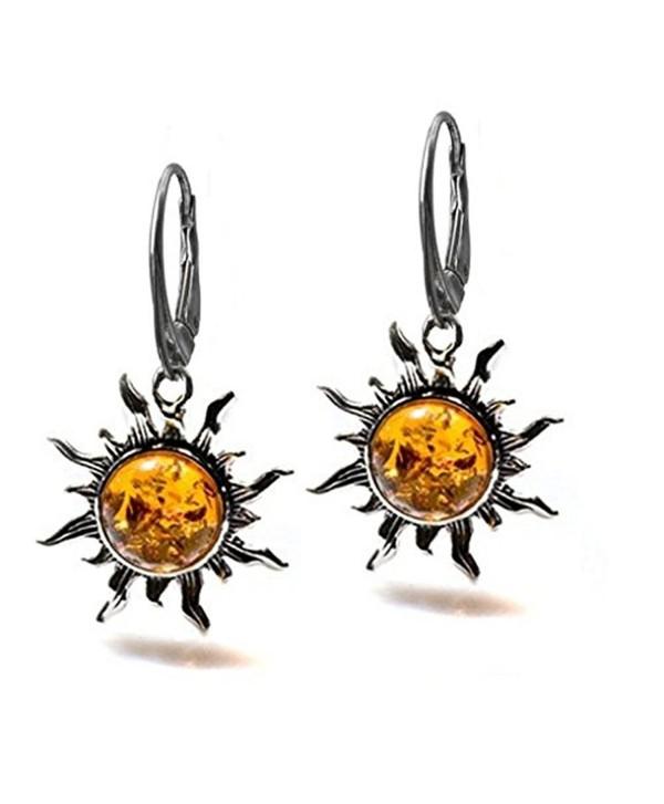 Amber Sterling Silver Flaming Sun Leverback Earrings - CF182556K20