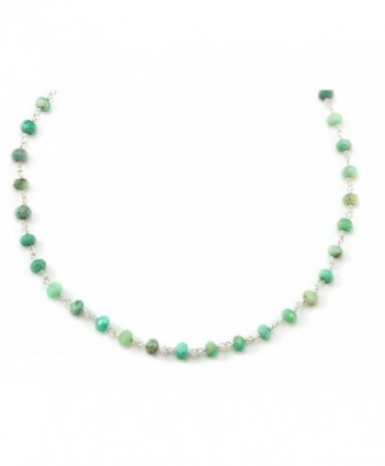 "Sterling Silver Chrysoprase Chain Necklace Soft Green Faceted Gemstones Silvertone Chain- 18"" - CU11D34NNV5"