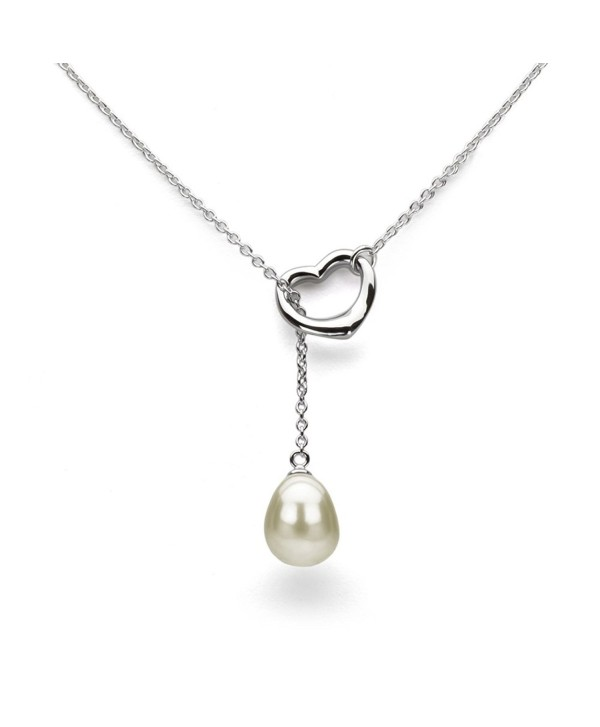 Sterling Silver Chain Cultured Freshwater Pearl Pendant Necklace Jewelry for Women 9x11mm 21 inch - White - CR17YINW5NE