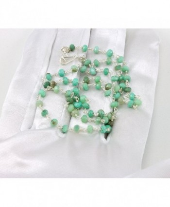 Sterling Chrysoprase Necklace Gemstones Silvertone
