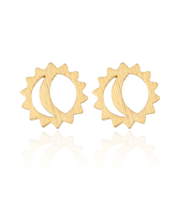 LAONATO Plated Brass Sun and Moon Earrings - Gold - C7188A50S92