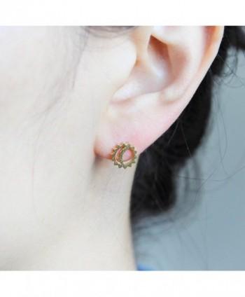 LAONATO Plated Brass Moon Earrings in Women's Stud Earrings