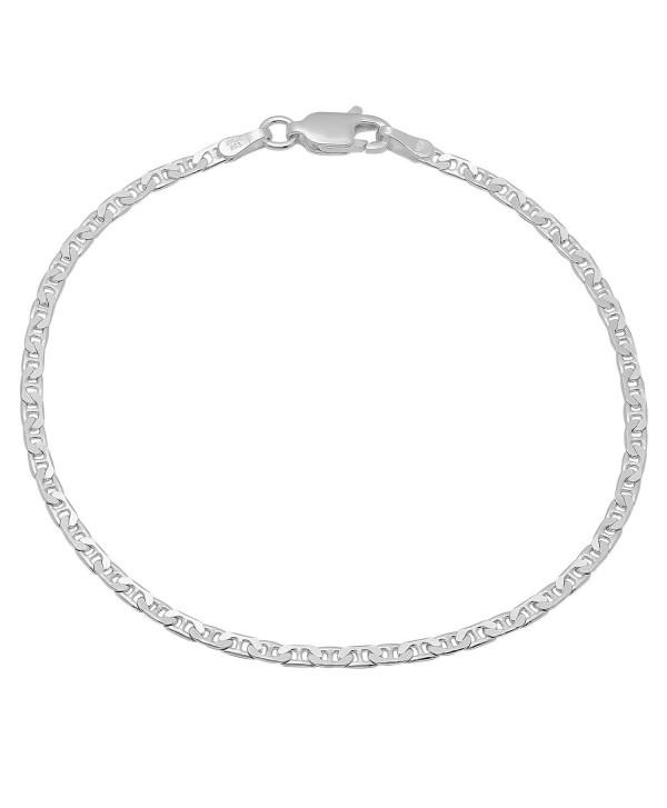 Small 2.4mm Real 925 Sterling Silver Nickel-Free Italian Mariner Chain Bracelet + Bonus Polishing Cloth - CX11UMNDX5L