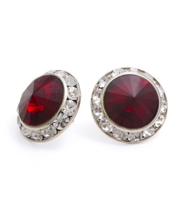PammyJ Dark Red 20mm Crystal Center Post Earrings - C8114F9HR9V