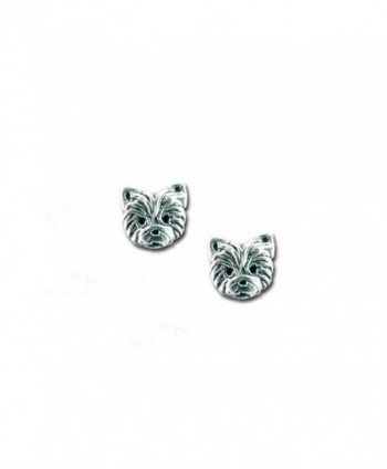 Sterling Silver Yorkie Puppy Post Earrings by The Magic Zoo - CO129X8E5RF
