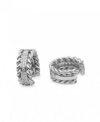 Sterling Silver White Cubic Zirconia Decorative Edge Hoop Earrings - CM12KJO1T7B
