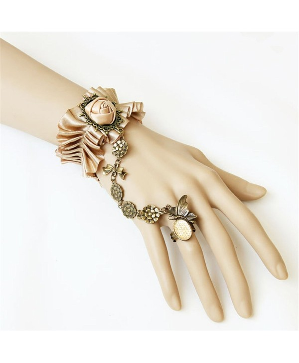 Gothic Lolita Pendant Choker Bracelet With Ring Set Wedding Lace Bracelet- Champaign Gold - C512I7JR3QL
