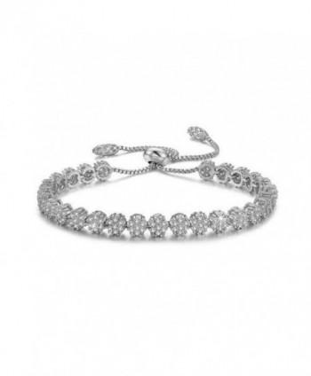 SPILOVE Serend Luxury Gold Plated Adjustable Bracelet with Sparkling White Cubic Zirconia Stone for Women Girls - C9182HLH5KK