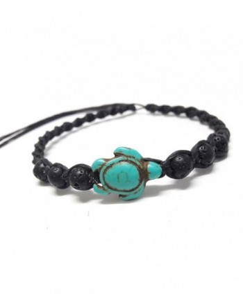 Bracelet or Anklet Sea Turtle in Turquoise - Lava Rock Stone Beads Turtle Hemp - Adjustable Cord - CC12OCEAD28