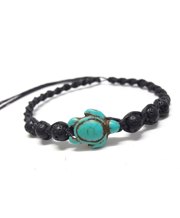Bracelet or Anklet Sea Turtle in Turquoise - Lava Rock Stone Beads Turtle Hemp - Adjustable Cord - CC12OCEAD28