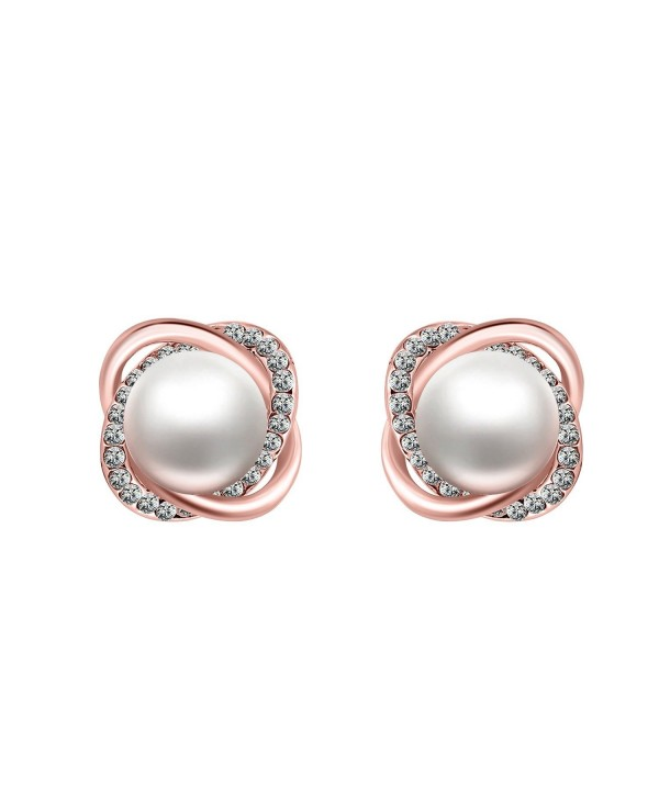 18K Gold Plated Stud Earrings Silver Zircon Twist Simulated Pearl for Women Jewelry - rose-tone - C9126D723IR