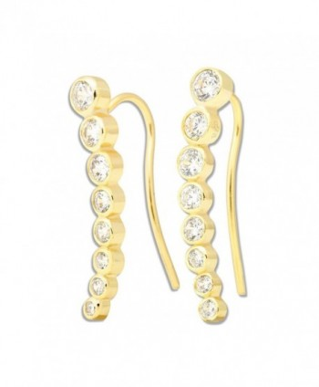 Sterling Bezel set Climber Hypoallergenic Earrings - Gold Plated - CX11V15LUQD