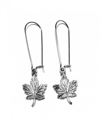 Sabai NYC Silvertone Canadian Maple Leaf Charm Dangle Earrings - CF12N6G6IR6