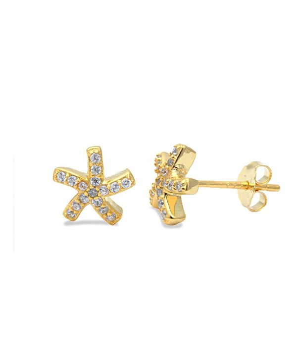 Tiny Starfish Stud Post Earring Pave Round Cubic Zirconia Yellow Tone Plated 925 Sterling Silver - CT12MXOUVG0