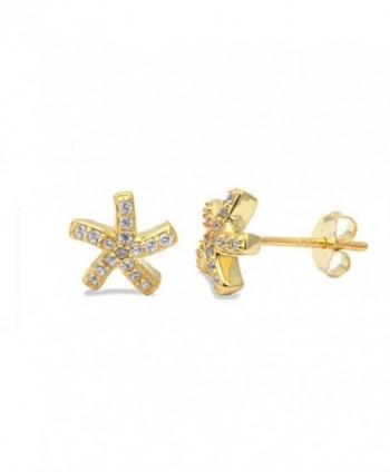 Starfish Earring Zirconia Yellow Sterling in Women's Stud Earrings