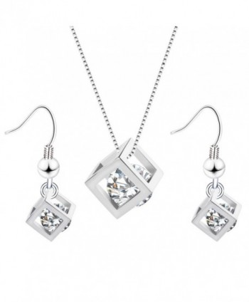 Women's Fashion Jewelry AAA Zircon Embedded Rubik Cube Pendant Necklace Earring Set for Women Teen Girls - Silver - CM12IT6B1W9